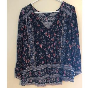 Lucky Brand Floral Boho Peasant Blouse Large